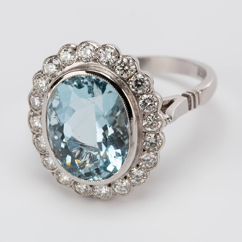 Aqua Diamond Oval Cluster Ring