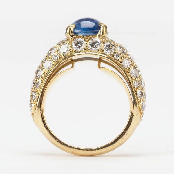 Gold Pave Set Diamond Sapphire Ring