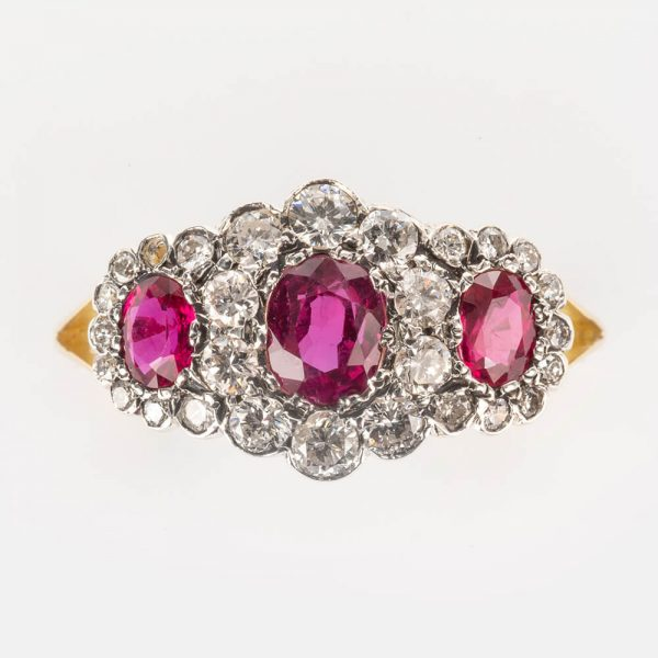 Ruby Diamond Triple Cluster Ring