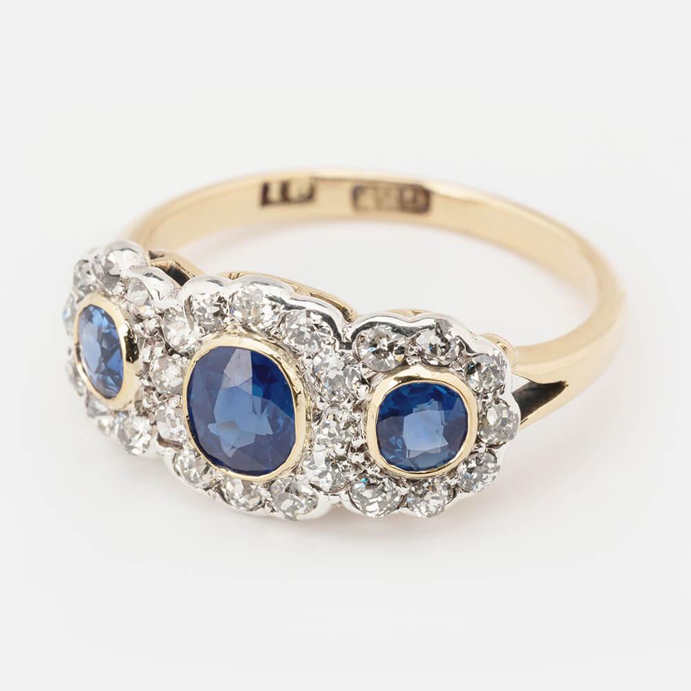 Sapphire Diamond Triple Cluster Ring