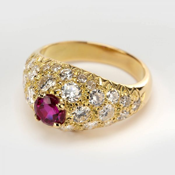 Fine Jewels of Harrogate Vintage French Ruby and Diamond Dress Ring Circa 1960's