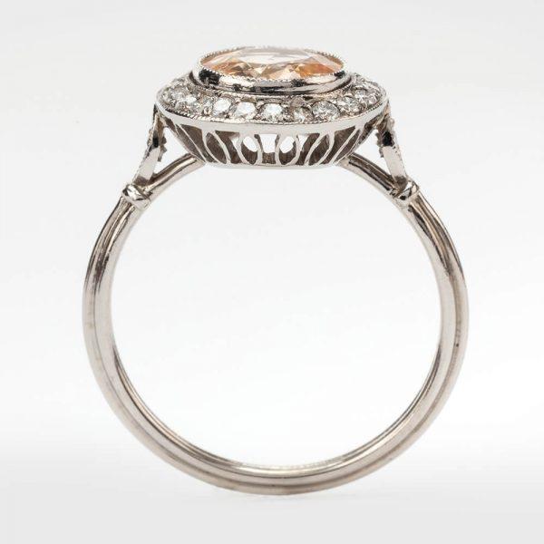Fine Jewels of Harrogate Contemporary 1.93 Carat Orange Sapphire and 0.35 Carat Diamond Cluster Engagement Ring