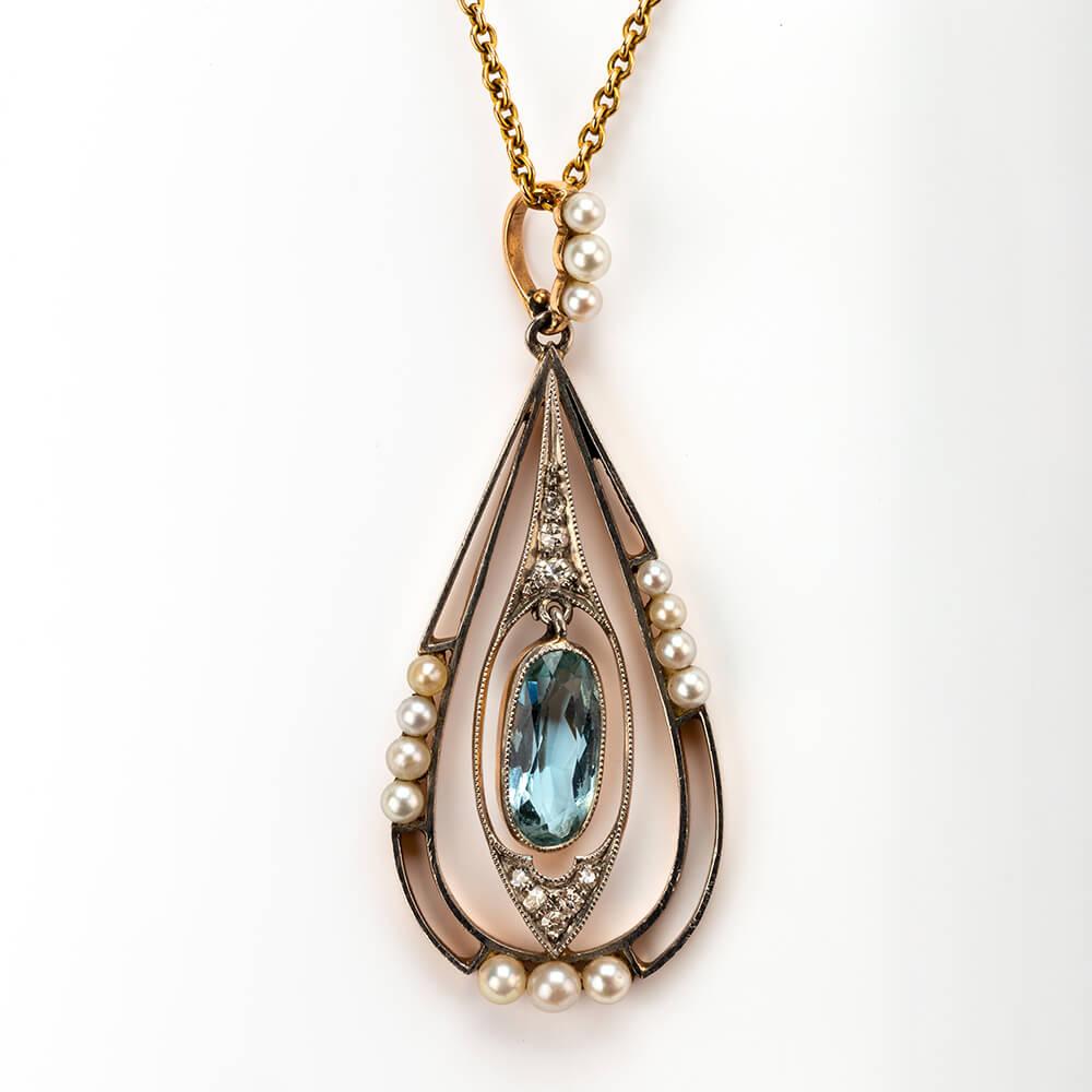 Aquamarine Pearl Diamond Pendant