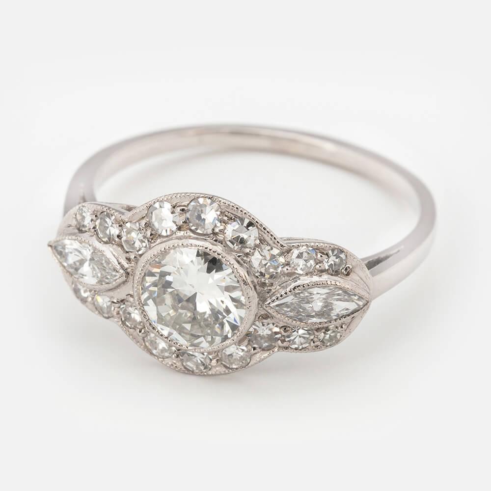 Diamond Triple Cluster Ring