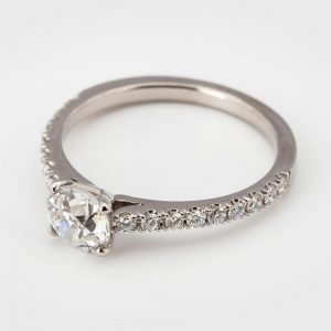 0.85 Carat Old European Cut Diamond Solitaire Engagement Ring