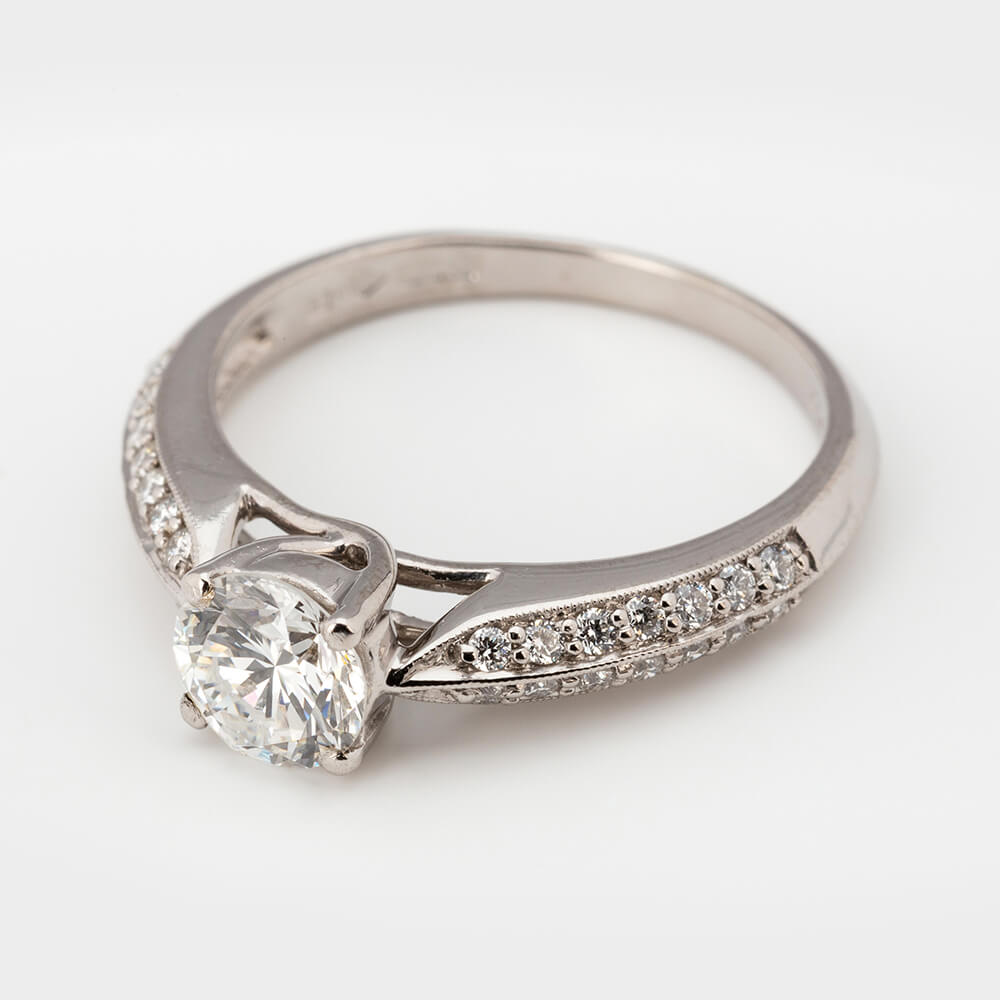 Contemporary 0.72n Carat Diamond Solitaire Engagement Ring