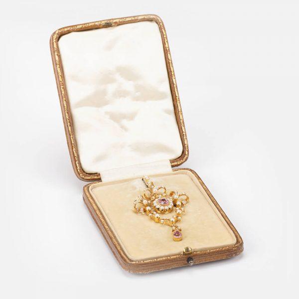 Fine Jewels Of Harrogate Tourmaline Pearl Pendant Brooch