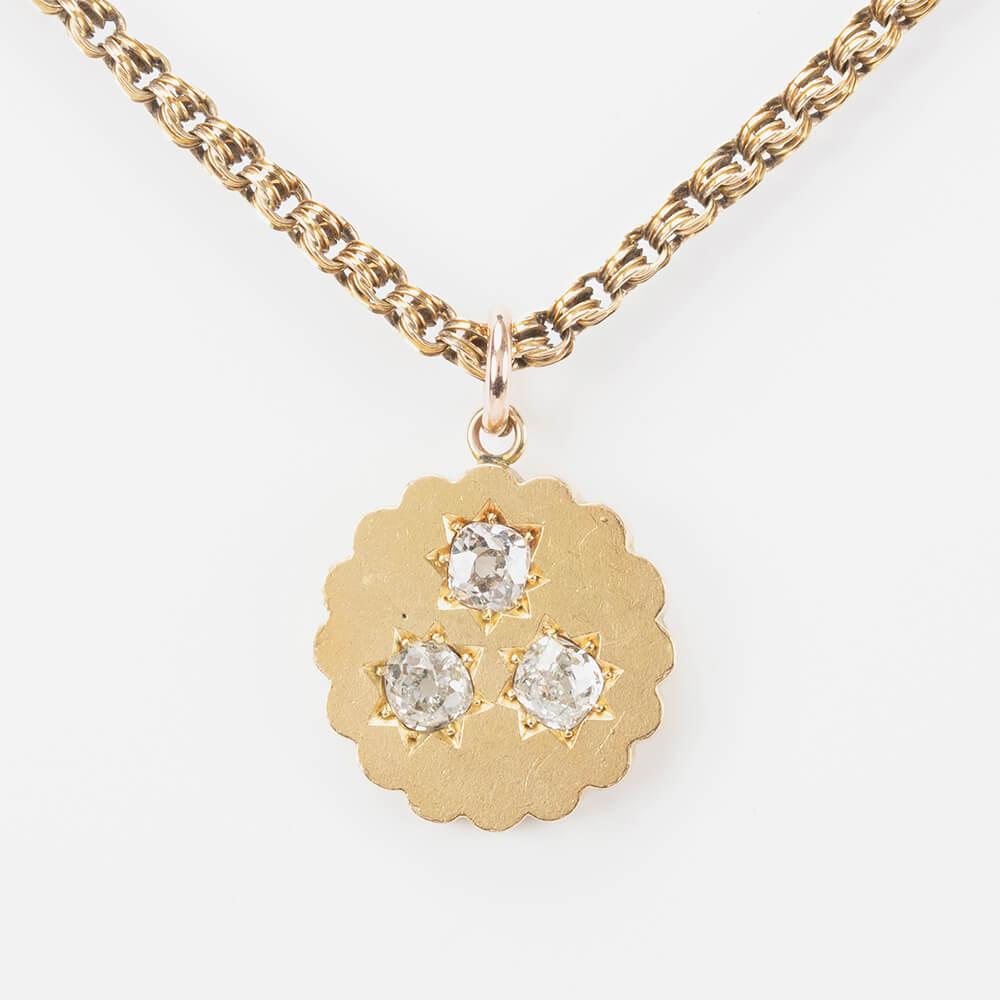 Fine Jewels Of Harrogate 15 ct Circular Gold Diamond Set Pendant Chain