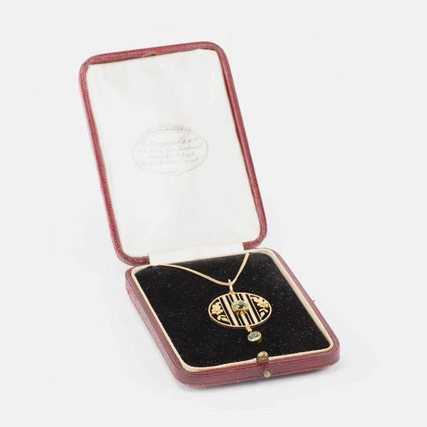 Fine Jewels Of Harrogate 15 ct Gold Pearl Peridot Pendant