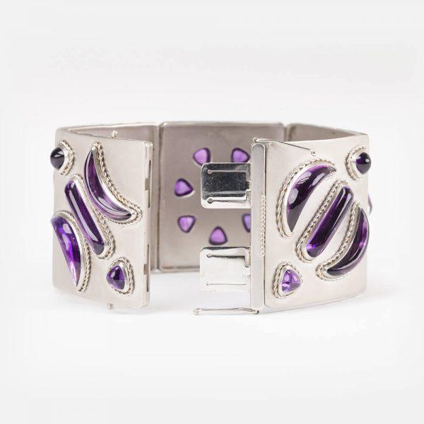 Fine Jewels Of Harrogate 15 Platinum Amethyst Earring Bracelet set 15