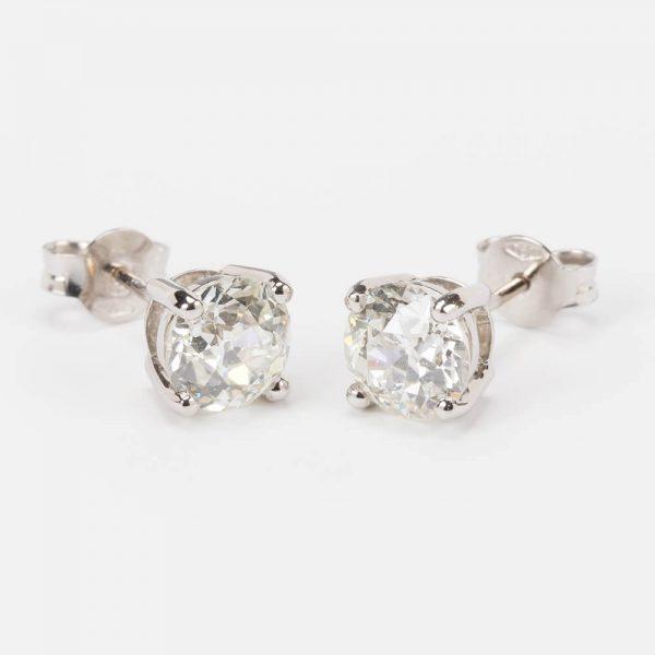 Fine Jewels of Harrogate Contemporary Classic Old European Cut 2.87 Carat Diamond Stud Earrings
