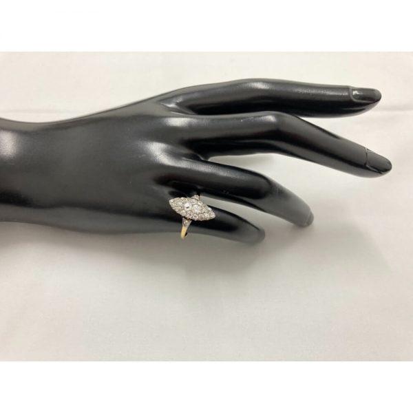 Fine Jewels of Harrogate Antique Edwardian Marquise Shape 1.00 Carat Diamond Cluster Ring Circa 1900's
