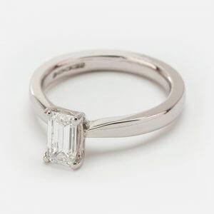Fine Jewels of Harrogate SS 0.82ct Emerald Cut Diamond SS Ring