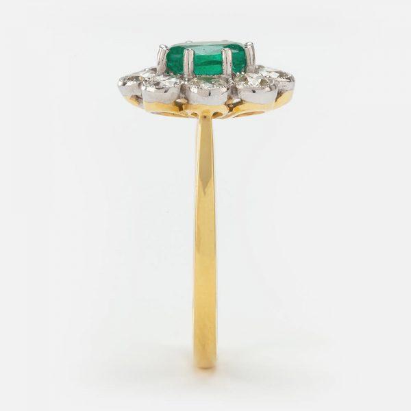 Fine Jewels of Harrogate Emerald Diamond Oval Cluster Ring