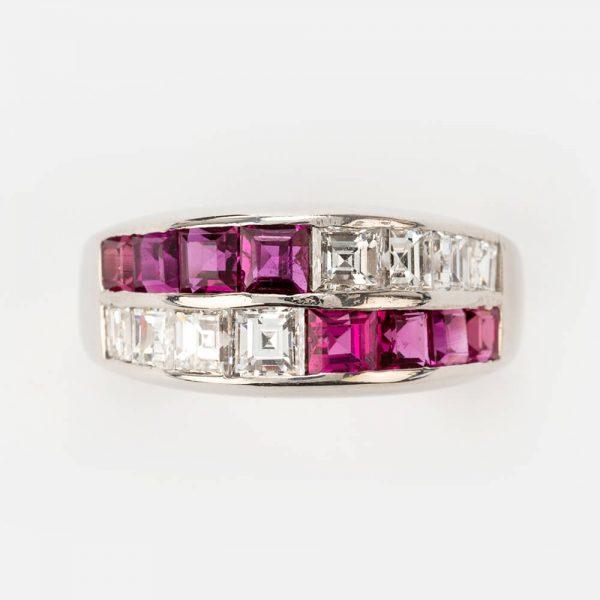 Fine Jewels of Harrogate Ruby Diamond 2 Row Ring