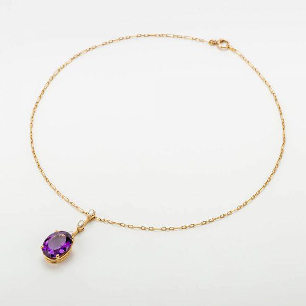 Fine Jewels of Harrogate Amethyst Diamond Pendant Chain
