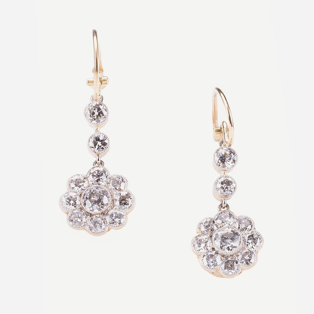 Fine Jewels of Harrogate Diamond Cluster Drop Earrings