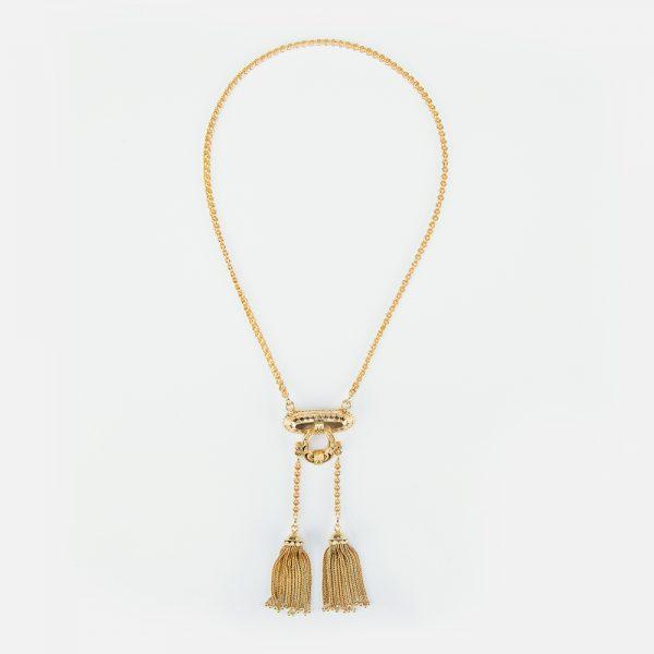 Fine Jewels of Harrogate Gold Emerald Tassle Necklace