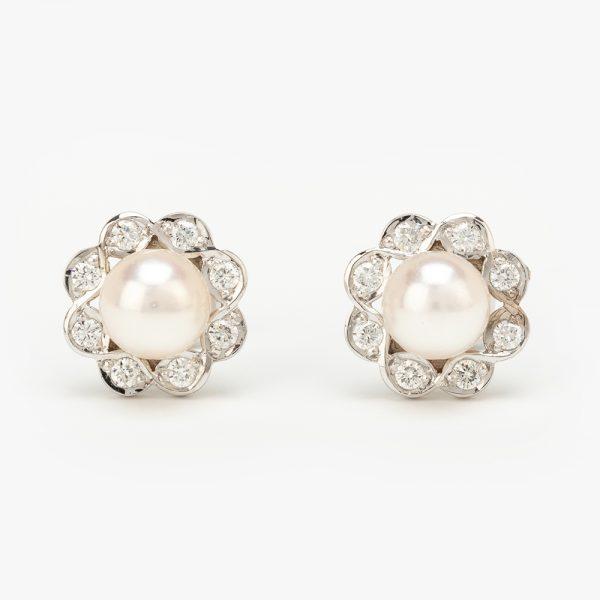 Fine Jewels of Harrogate Pearl Diamond Earrings