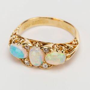 Fine Jewels of Harrogate Opal Dia Half Hoop Ring 1