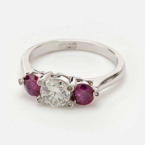 Fine Jewels of Harrogate 44569-10-Ruby-Dia-3st-Ring-1