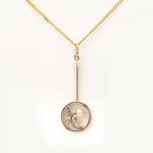 Fine Jewels of Harrogate 44834-8-Pearl-Dia-Pendant-Chain-1