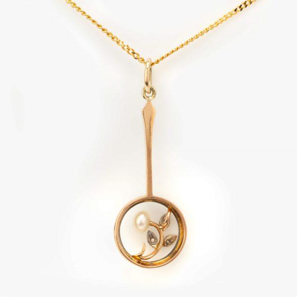 Fine Jewels of Harrogate 44834-8-Pearl-Dia-Pendant-Chain-3